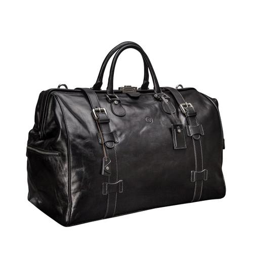 MSB Sorano Italian Leather Large Gladstone Holdall - Black