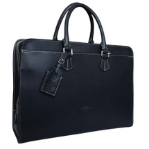 Boldrini Italian Designer Leather Laptop Briefcase - Navy