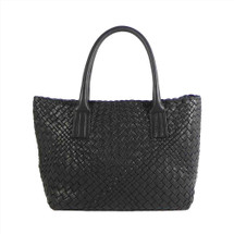 Ghibli Luxury Hand Woven Italian Leather Medium Shopper - Black
