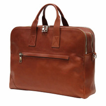 Terrida Italian Leather 3 Compartment Business Bag - Brown