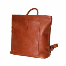 Terrida Roma Italian Leather Slim Backpack - Brown