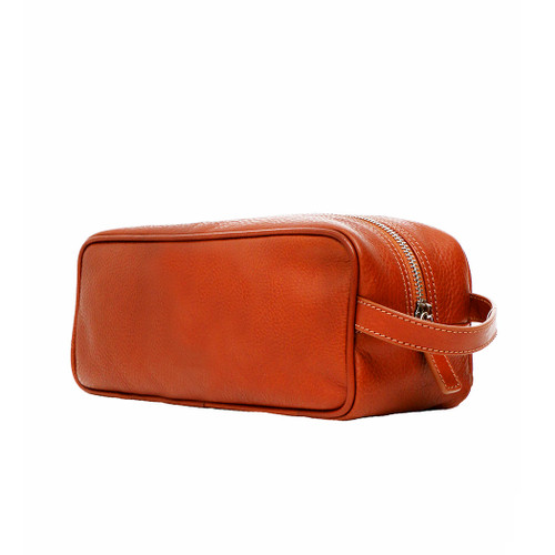 Terrida Venice Italian Leather Toiletry Wash Bag - Brown