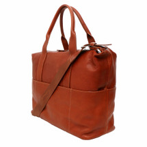 Terrida Breni Italian Leather Travel Tote Bag - Brown