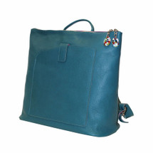 Terrida Veneto Italian Leather Slim Backpack - Blue