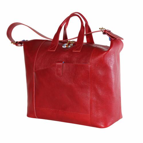 Terrida Veneto Italian Leather Travel Tote Bag - Red