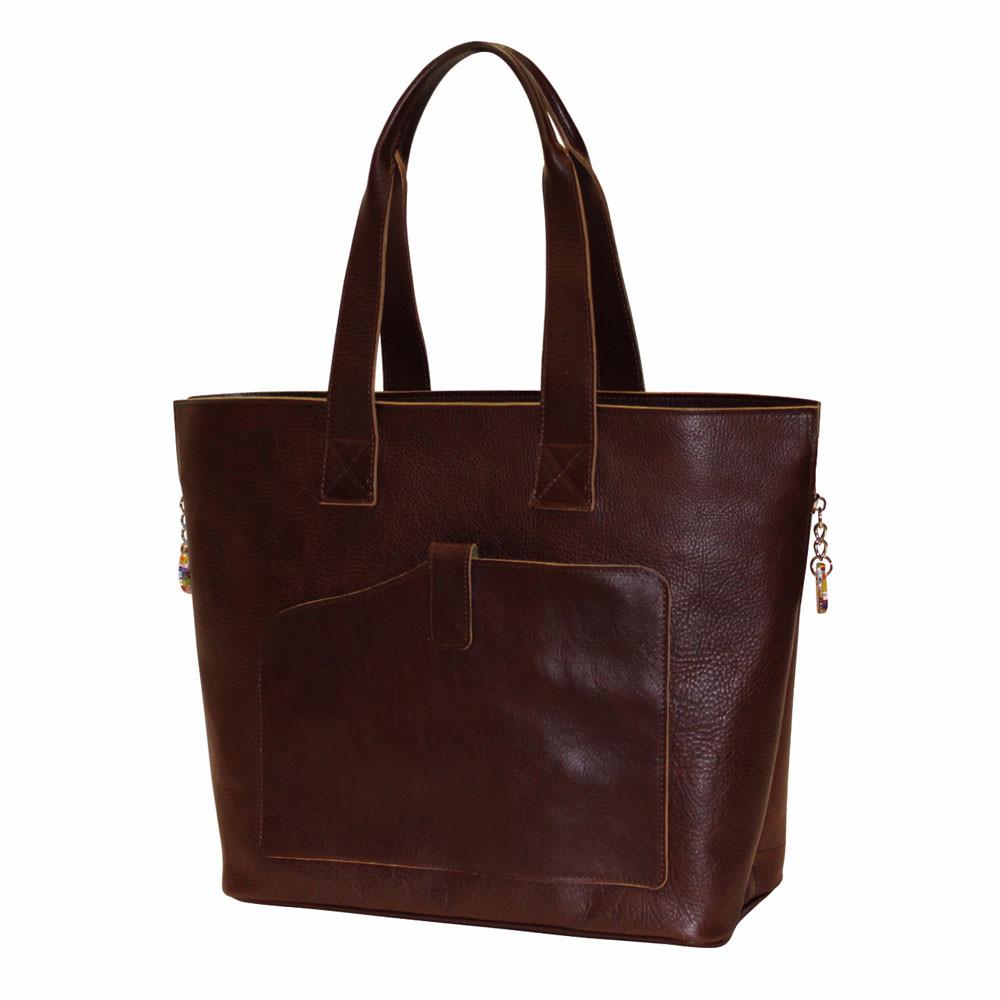 97d9574565 Terrida Veneto Italian Leather Shopper Tote Bag - Dark Brown - Attavanti