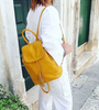 Carbotti Italian Designer Woven Leather Backpack -  Yellow Model