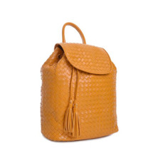 Carbotti Italian Designer Woven Leather Backpack - Yellow