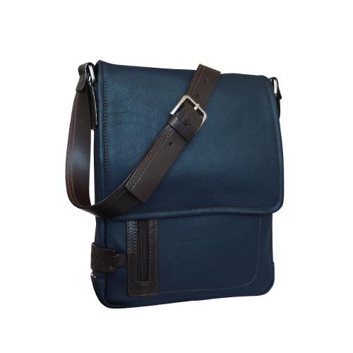 Chiarugi City Style Leather Messenger - Blue