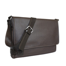 Chiarugi City Style Large Leather Messenger Bag - Brown