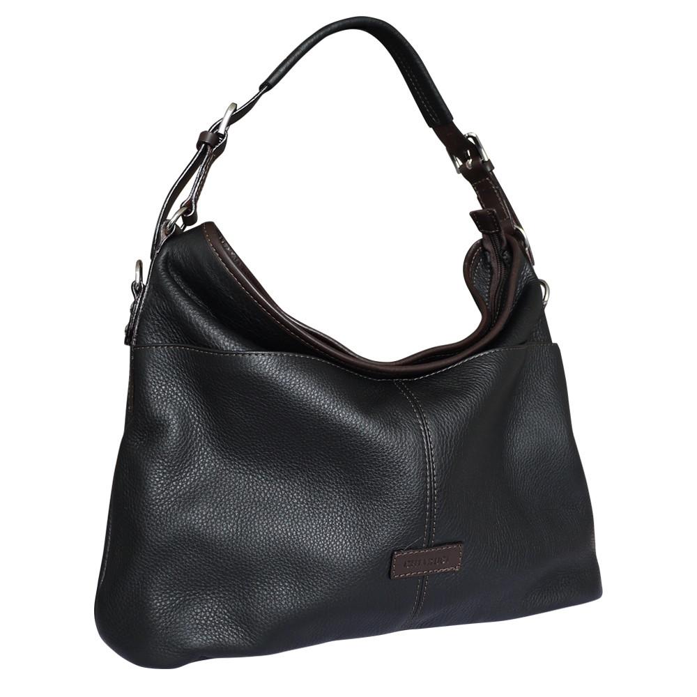 431564845419 Chiarugi City Style Leather Hobo Bucket Bag - Black - Attavanti