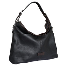 Chiarugi City Style Leather Hobo Bucket Bag - Black