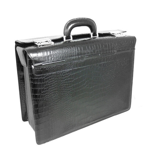 Pratesi Croc Printed Leather Lorenzo Briefcase - Black