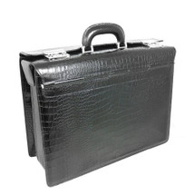 Pratesi Croc Printed Leather Lorenzo Briefcase - Black