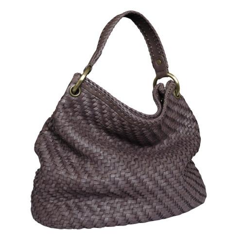 Paolo Masi Herringbone Weave Leather Hobo Bucket Bag - Brown