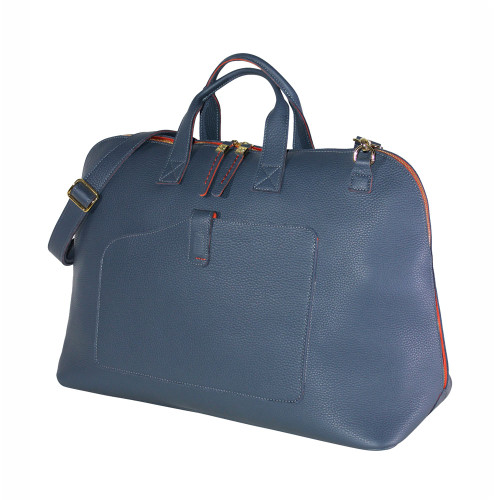 Terrida Vincenza Italian Leather Large Travel Bag - Blue