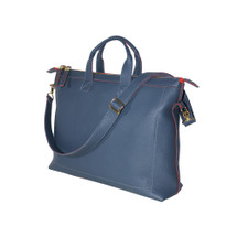 Terrida Vincenza Italian Leather Slim Shoulder Bag - Blue