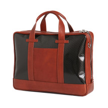 Terrida Italian Leather Carbon Laptop Business Bag - Tan