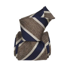 Segni & Disegni Italian handmade Stripe Silk Tie - Navy Ecru