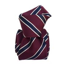 Segni & Disegni Italian handmade Stripe Silk Mix Tie - Maroon