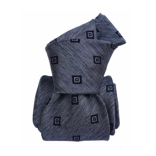 Segni & Disegni Italian Handmade Square Silk Mix Tie - Blue