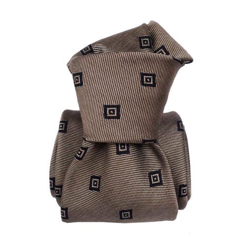 Segni & Disegni Italian Handmade Square Silk Mix Tie - Brown