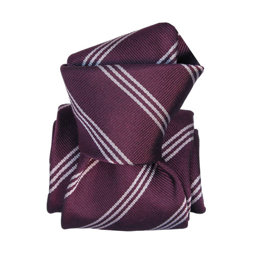 Segni & Disegni Italian Handmade Stripe Silk Mix Tie - Purple White