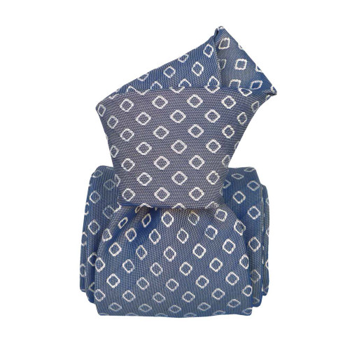 Segni & Disegni Italian Handmade Geo Silk Tie - Blue
