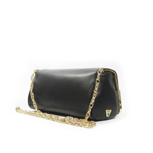 Ghibli Designer Leather Chain Clutch Evening Bag - Black