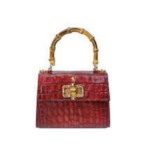 Pratesi Luci Italian Croc Printed Leather Bamboo Grab Bag - Red