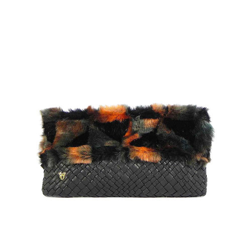 Ghibli Designer Leather Faux Fur Chain Clutch Evening Bag - Black