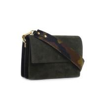 Carbotti Italian designer Suede Shoulder Handbag - Green Camo