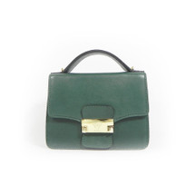 Ghibli Leather Chain Shoulder Grab Handbag - Green