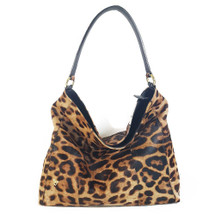 Ghibli Woven Leopard Printed Leather Hobo Bucket Bag - Black