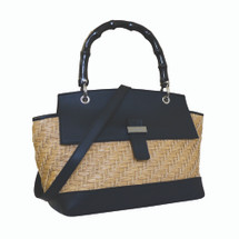 Paolo Masi Wicker and Leather Bamboo Handbag - Black