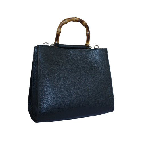 Anna Cecere Leather Sophia Bamboo Handle Tote - Black