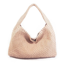 Ghibli Woven Leather Hobo Bucket Bag - Nude