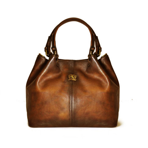 Pratesi Aged Leather Piccolo Bucket Hobo Handbag - Bruce Brown