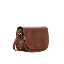 MSB Italian Leather Cross Body Saddle Style Bag - Tan