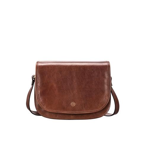 MSB Italian Leather Cross Body Saddle Style Bag - Tan