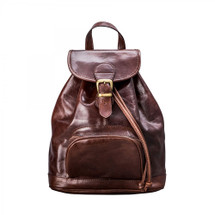 MSB Sorano Italian Leather Backpack - Dark Brown