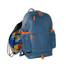Terrida Vincenza Italian Leather Sports Backpack - Blue Orange