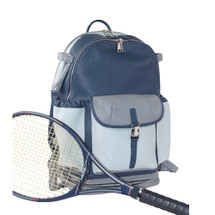 Terrida Italian Leather Sports Pocket Backpack - Blue Grey