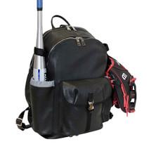 Terrida Italian Leather Sports Pocket Backpack - Black