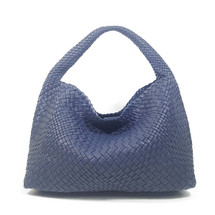 Copy of Ghibli Woven Leather Hobo Bucket Bag - Blue