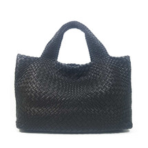 Ghibli Woven Leather Grab Bag - Black