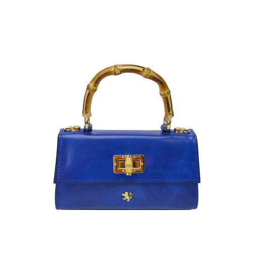 Pratesi Luci Italian Leather Bambu Baguette Grab Bag - Blue