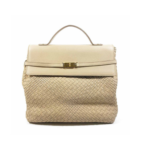 Ghibli Woven Leather Flap Over Grab Bag - Cream