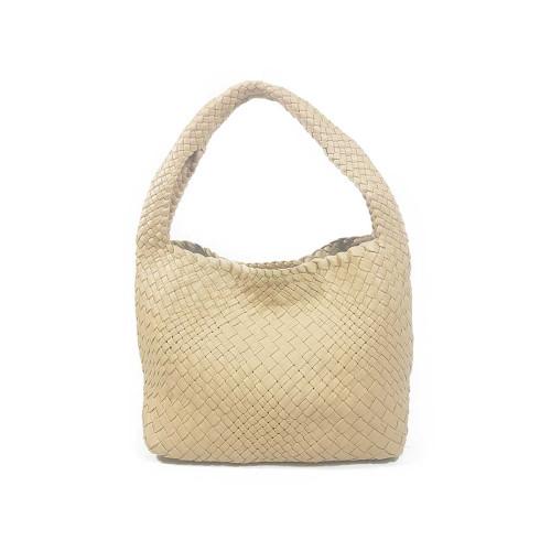 Ghibli Woven Leather Medium Grab Bag - Cream