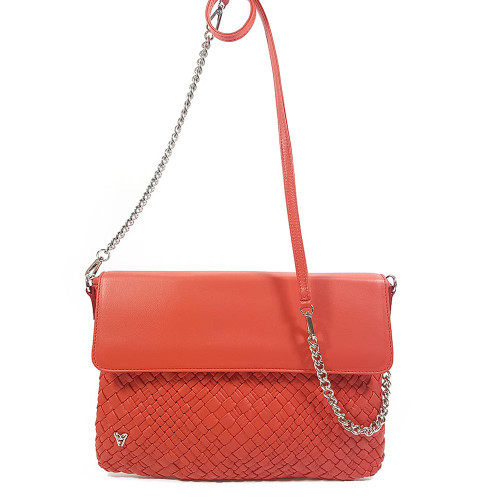 Ghibli Woven Leather Pochette Chain Shoulder Handbag - Red